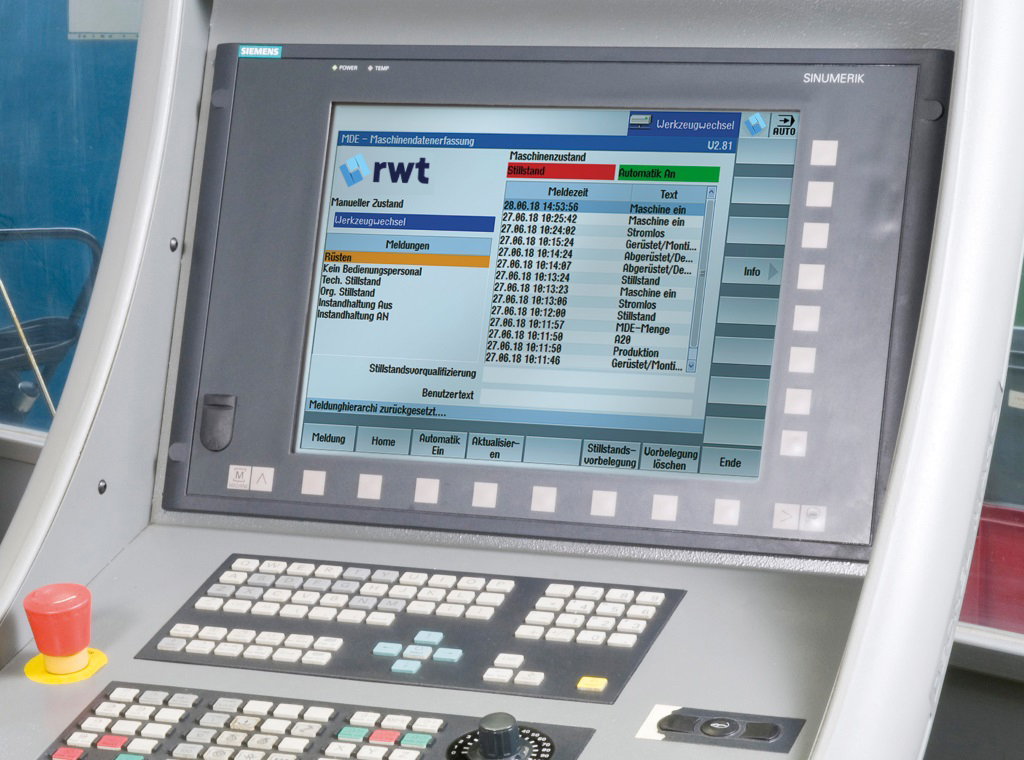 DNC, MDC, ODC -Integrated Directly in the Control System   rwt GmbH